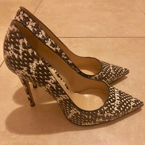 M.Gemi Black Patterned Leather Heels Size 7